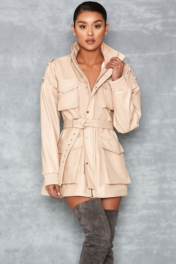 Matahari Nude Vegan Leather Oversized Safari Jacket