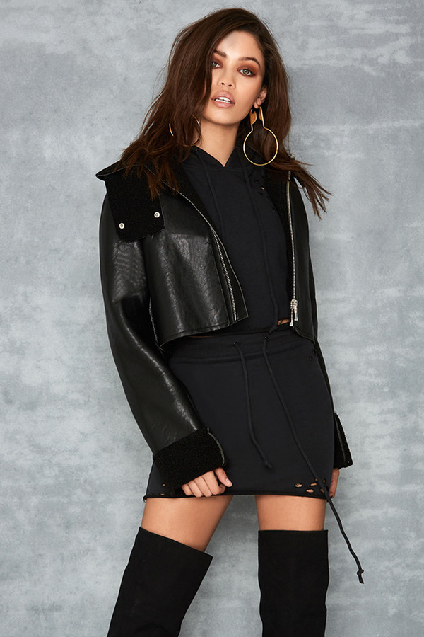 Mission Black Cropped Vegan Shearling Jacket