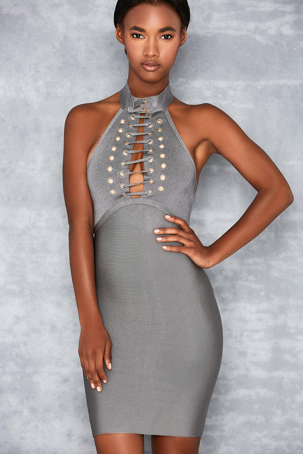 Sunshine Grey Bandage High Neck Mini Dress