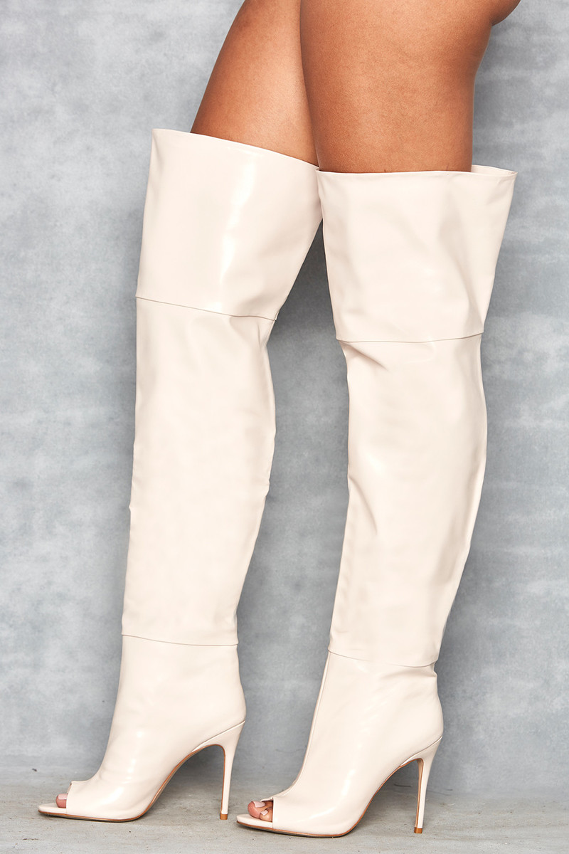 Dreamland Cream Thigh High Open Toe Boots