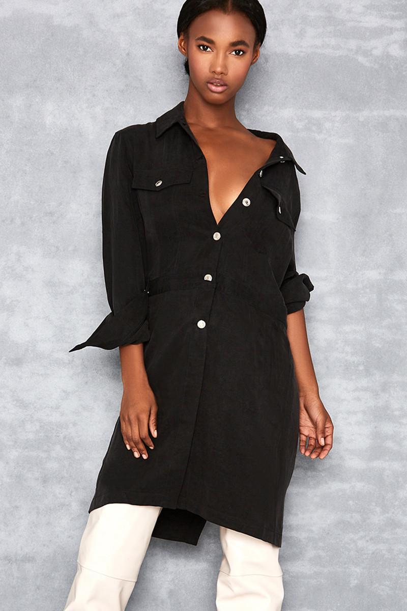 Astonish Black Elongated Jacket Dress