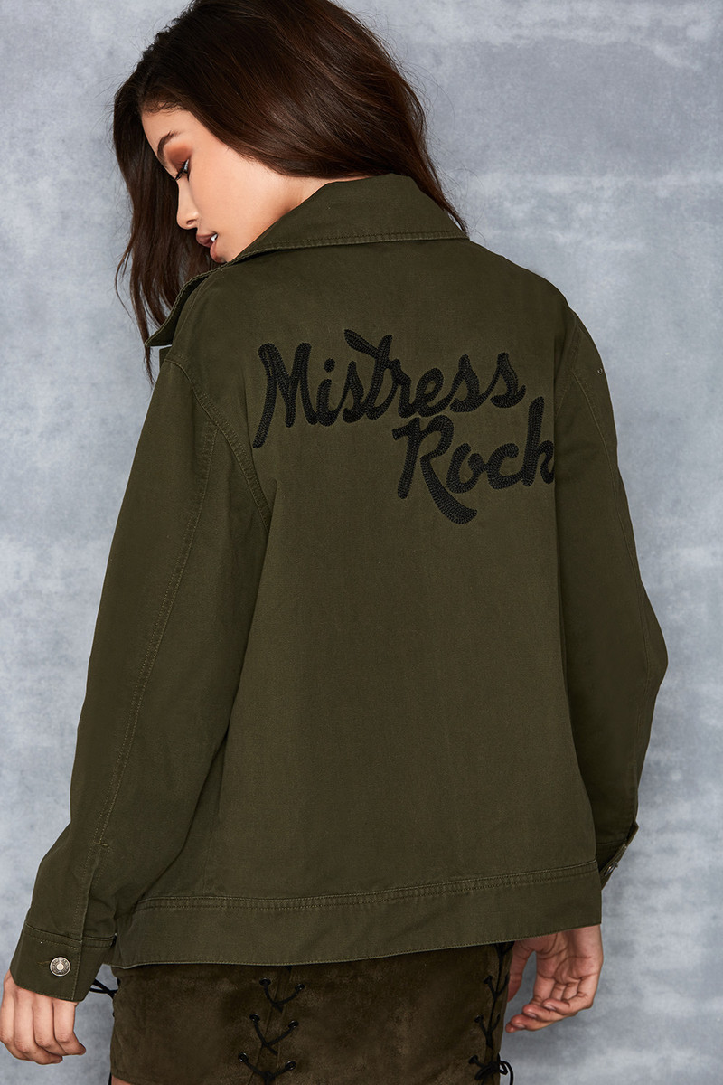 Calling Khaki Jean Jacket with Embroidered Logo
