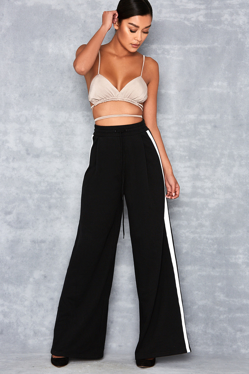 Casino Black Side Stripe Wide Leg Sweatpants
