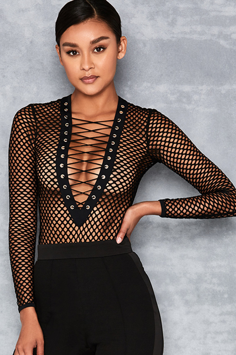Loose Cannon Black Fishnet Bodysuit
