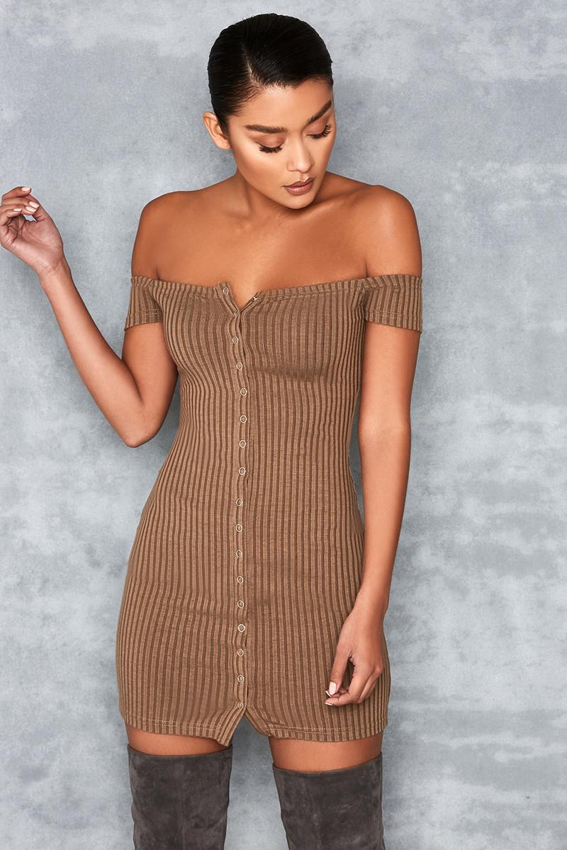 Motown Olive Off Shoulder Mini Dress