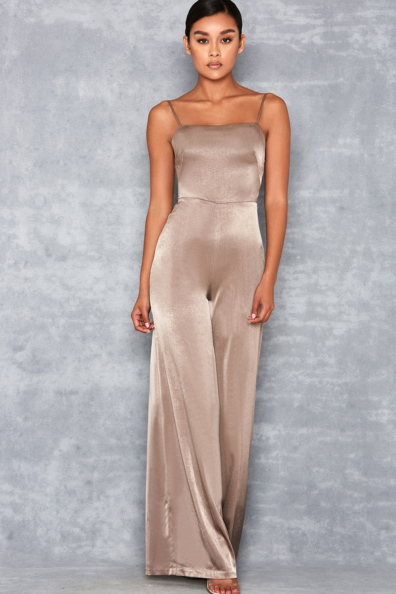 Serve It Khaki Satin Wide Leg Jumpsuit