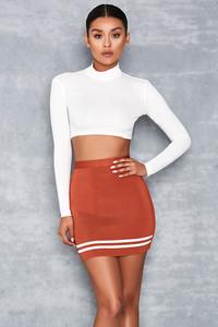 'Timeless' Tan Sports Stripe Bandage Mini Skirt