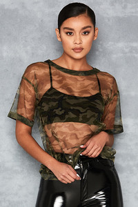 'Simplify' Camo Sheer Tulle Oversized T-Shirt