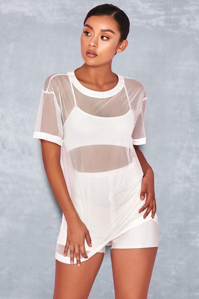 'Hydra' White Oversized Mesh T Shirt & Bralette