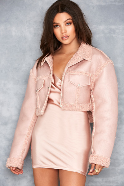 'Immortal' Blush Cropped Shearling Jacket