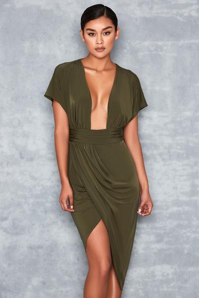 Madame Khaki Drape Back Slinky Dress