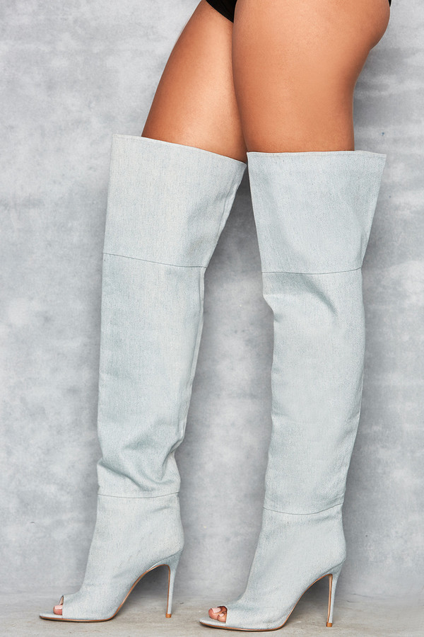 Peepshow Blue Suede Open Toe Thigh Boots
