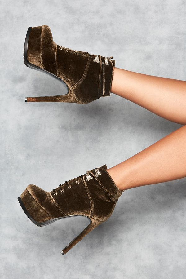 'Rhapsody' Khaki Velvet Platform Ankle Boots