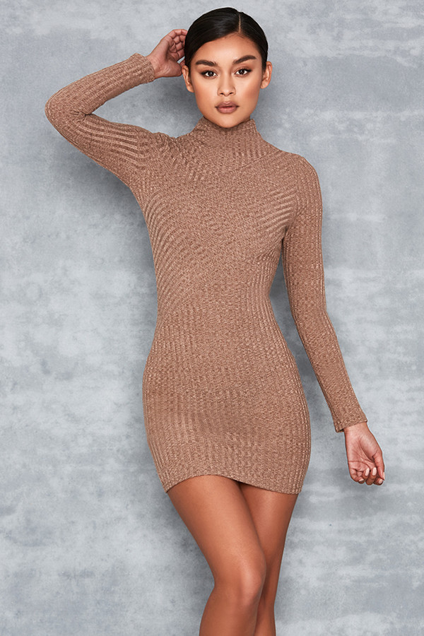 Gracious Tan Asymmetric Rib Dress