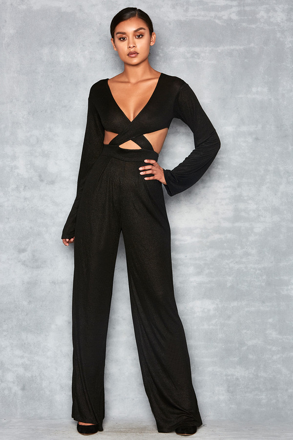 Hold Me Black Lurex Cross Body Jumpsuit