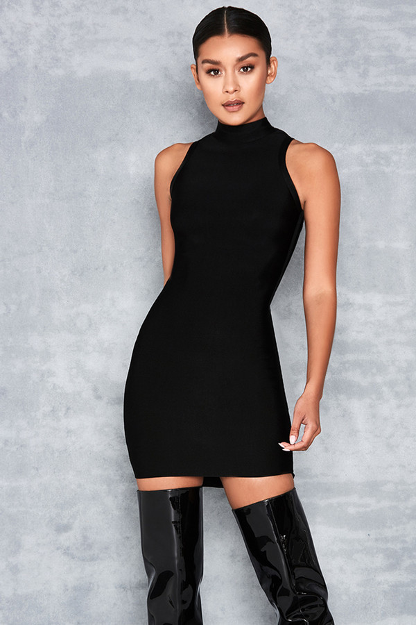Radiant Black Cut Away Sleeve Bandage Dress