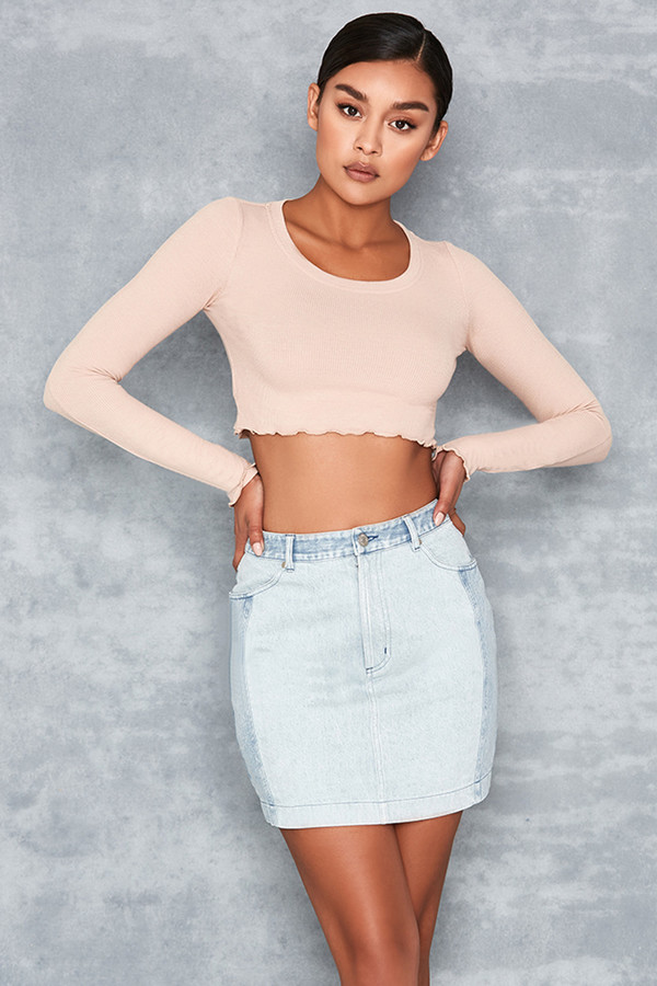 Pretence Two Tone Denim Mini Skirt