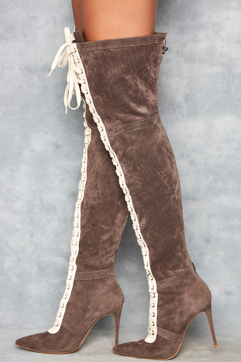 Odyssey Grey & White Suede Lace Up Thigh Boot