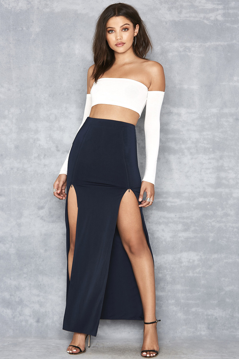 At Ease Navy Jersey Zip Front Maxi Skirt