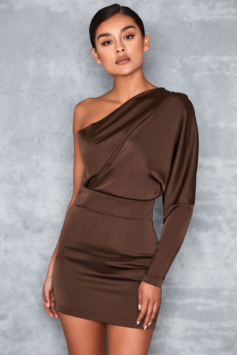 Award Ceremony Dark Khaki One Sleeve Drape Dress