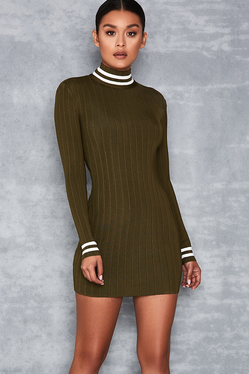 Close Out Green Sports Stripe Bandage Mini Dress