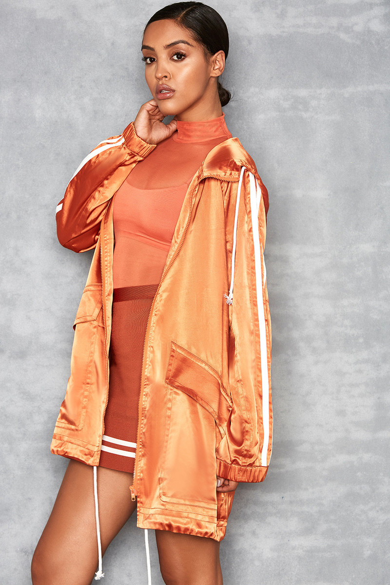 Imagine Orange Lightweight Satin Parka