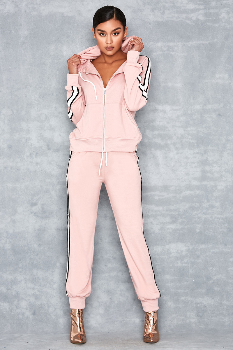Later Pink Two Piece Side Stripe Hoodie & Jogger Set
