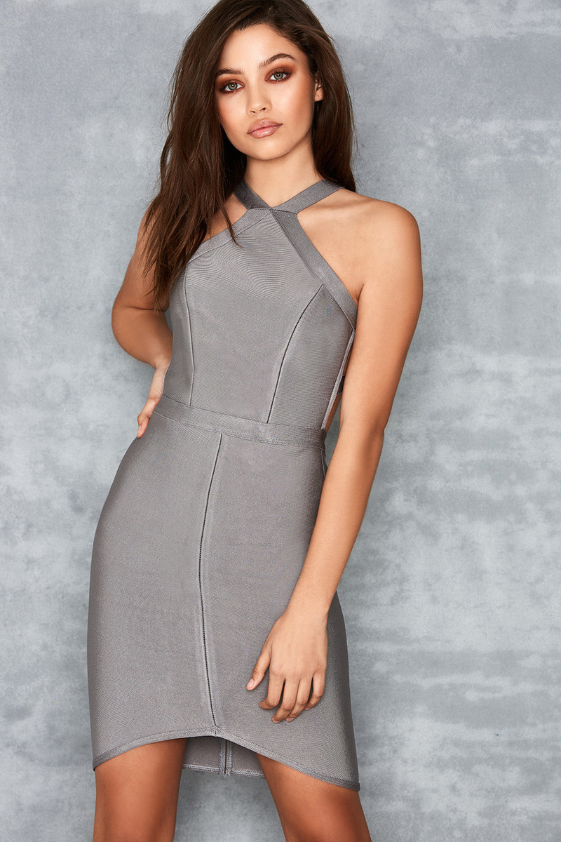 Lavish Light Grey Low Back Bandage Dress