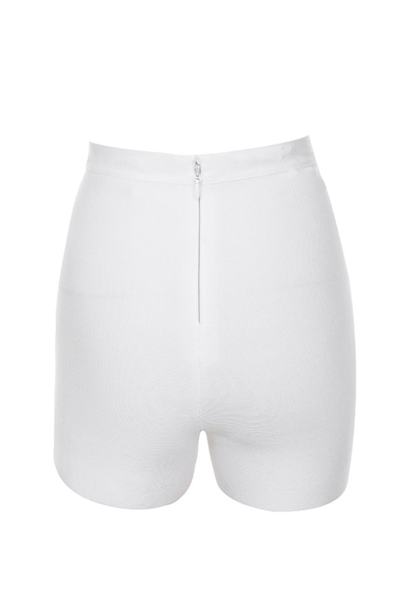 lightning shorts in white