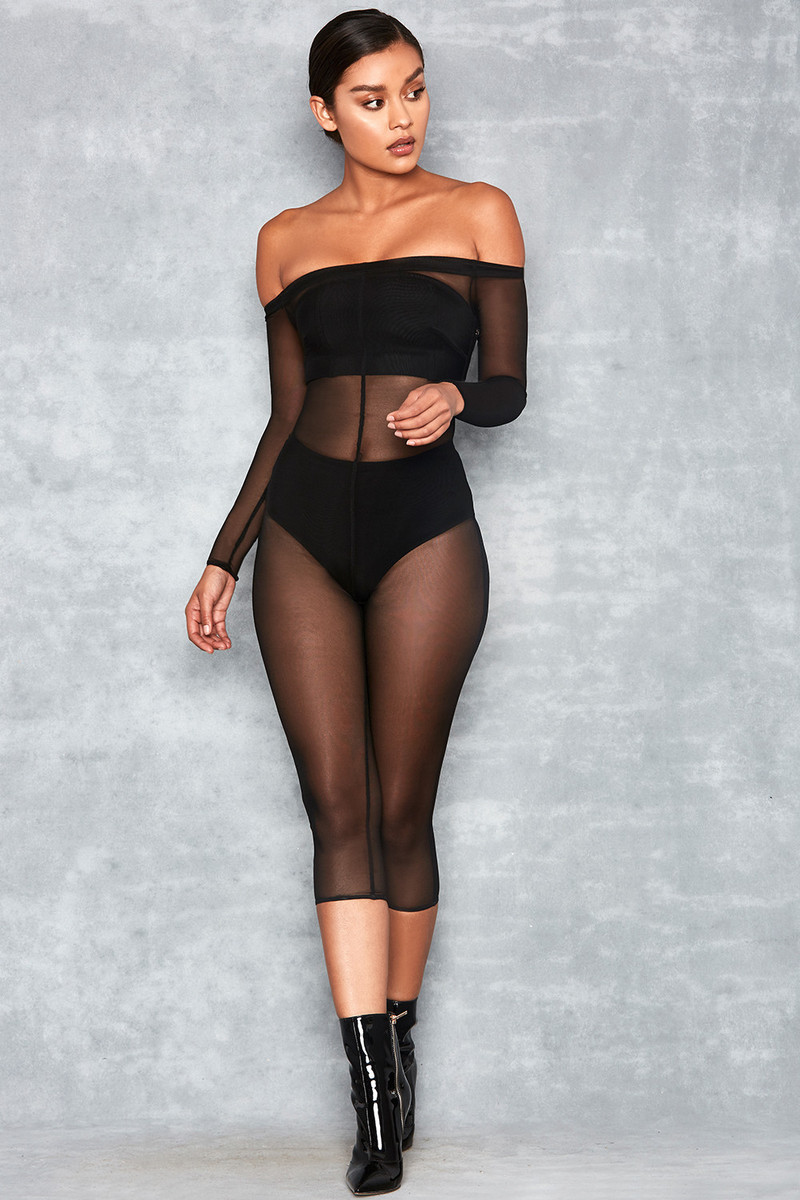 Matchmaker Black Sheer Mesh Off Shoulder Jumpsuit