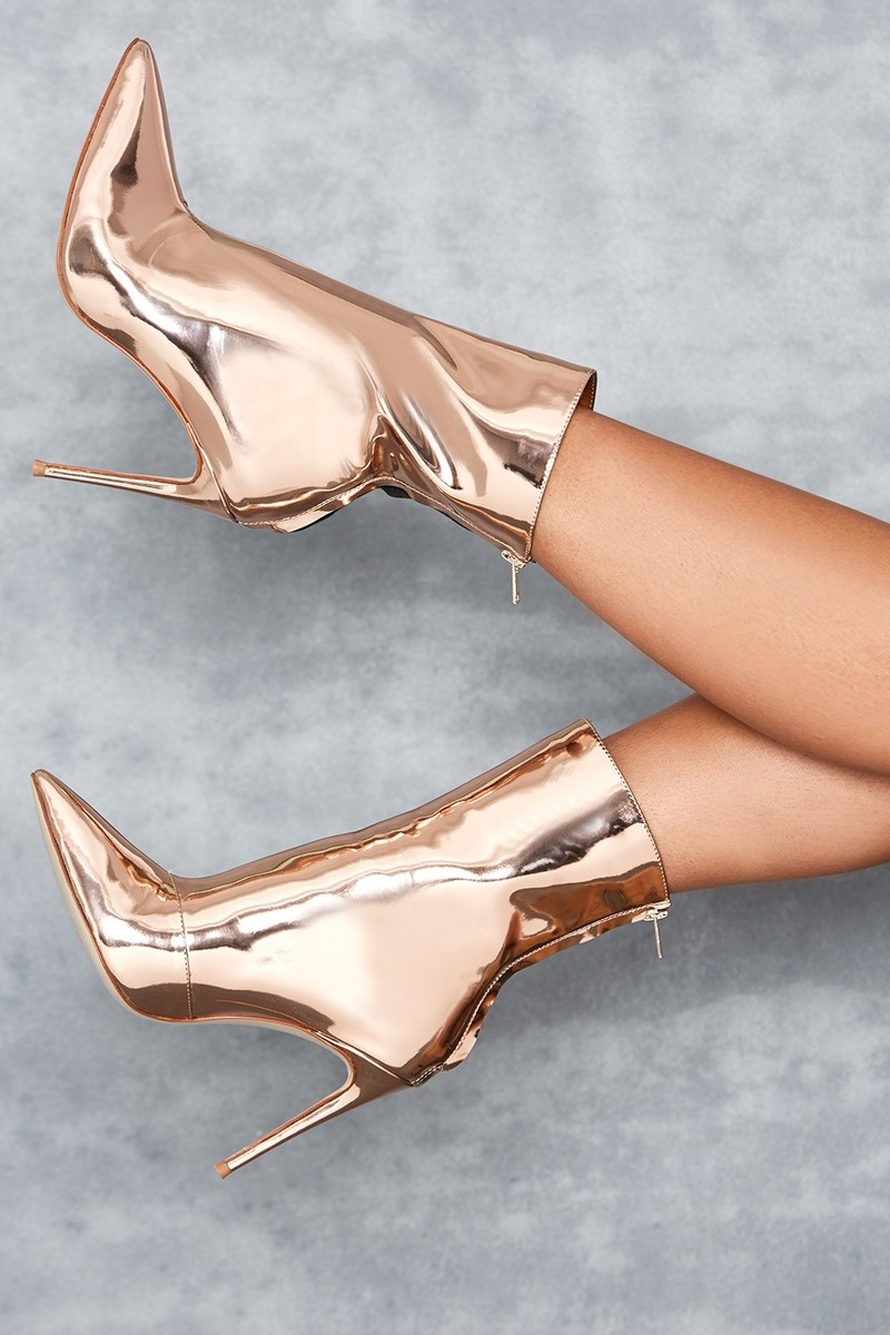 Mercury Rose Gold Mirror Ankle Boots
