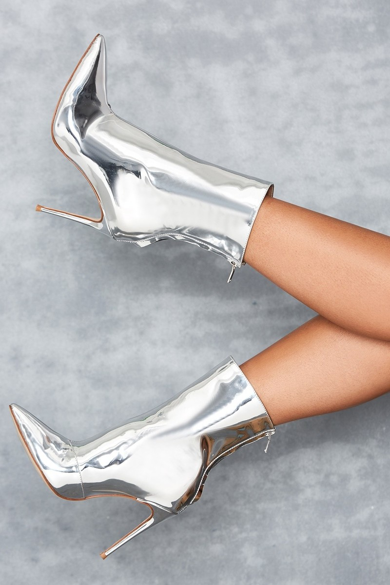Mercury Silver Mirror Ankle Boots