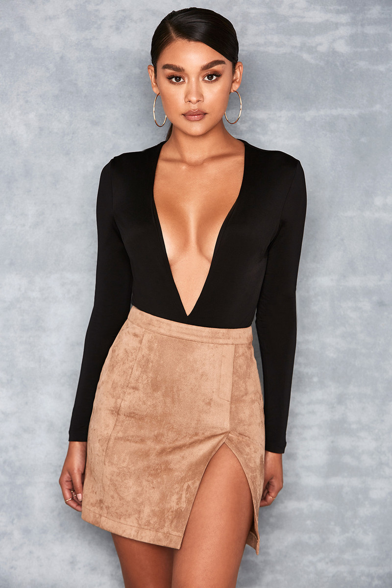 Moves Tan Suedette Front Split Mini Skirt