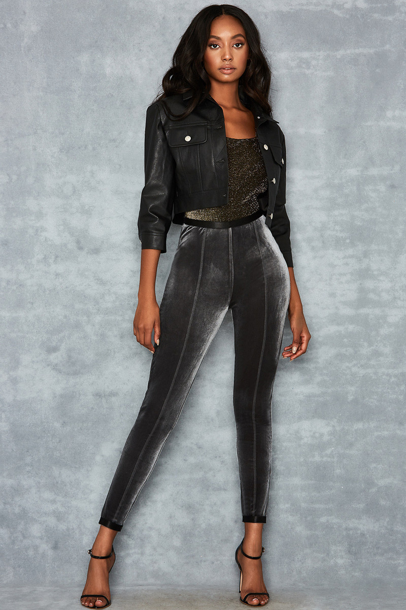 Radical Dark Grey Velvet Leggings