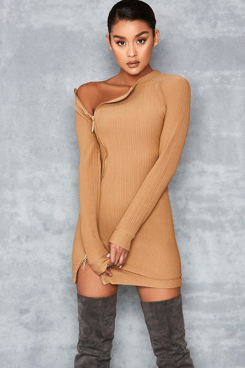Shameless Brown Ribbed Jersey Mini Dress