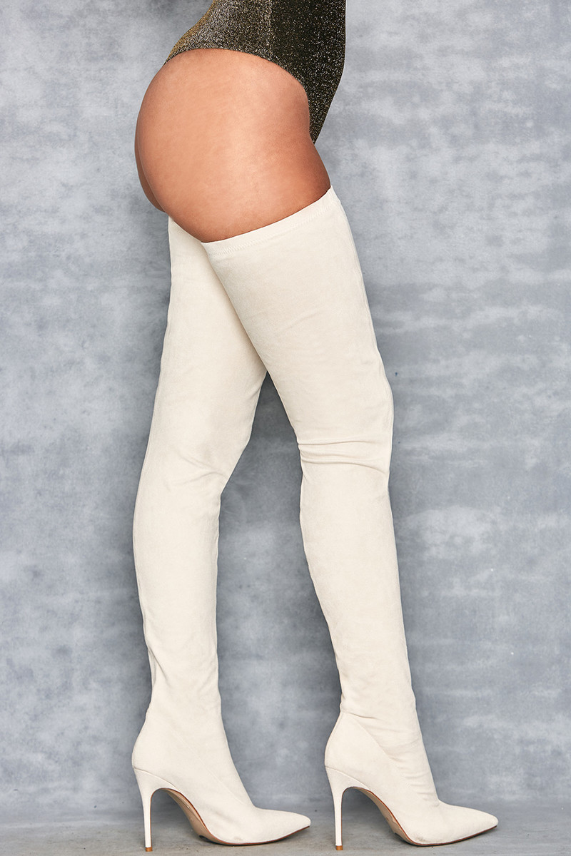 Storm Tan Suede Pu$$y-High Thigh Boots