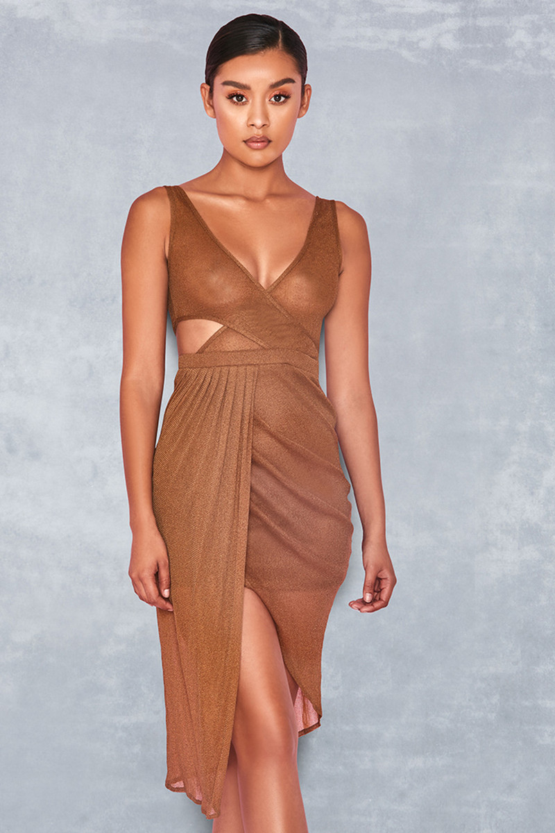 Ultra Brown Sheer Crossover Drape Dress