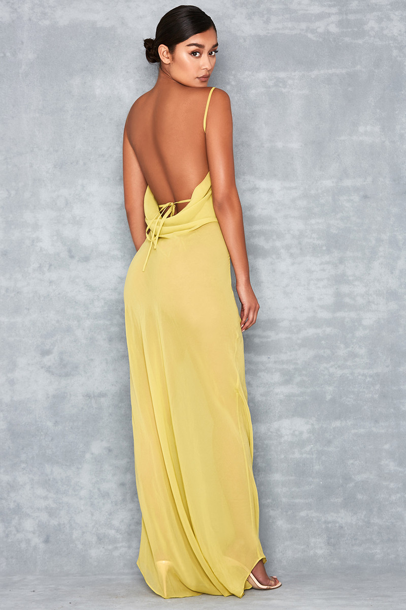 Vacay Lime Sheer Bias Cut Maxi Dress