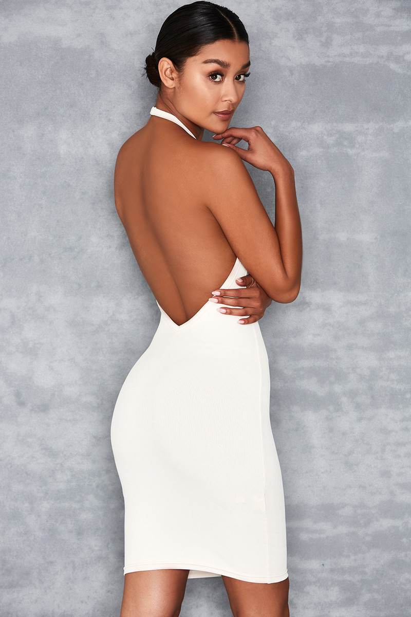 Word Up Off White Ribbed Knit Halter Dress