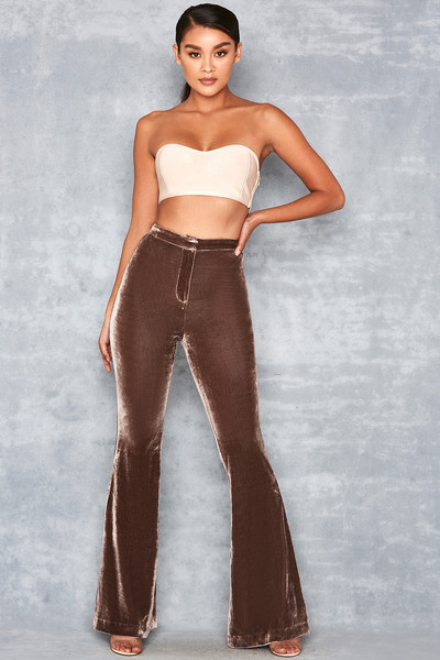 Adrenaline Chocolate Velvet Flared Trousers