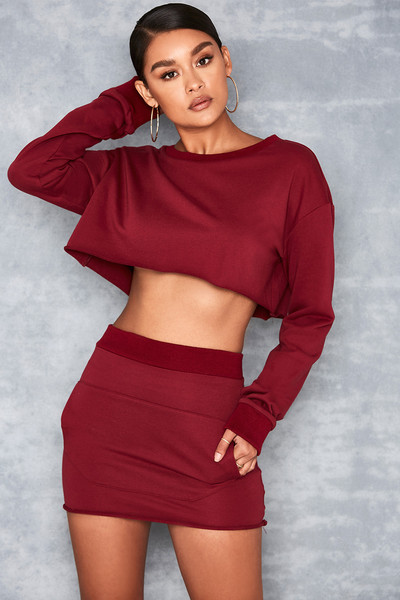 Angel Cake Raspberry Sweatshirt Two Piece Set
