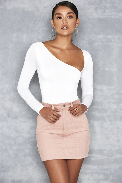 Be Seen Pink Corduroy Mini Skirt