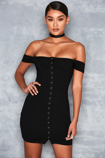 Motown Black Off Shoulder Mini Dress