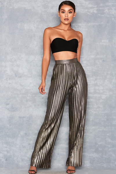 Shimmy Pewter Metallic Pleated Trousers