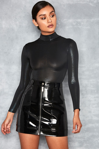 Startle Black Metallic Jersey Bodysuit