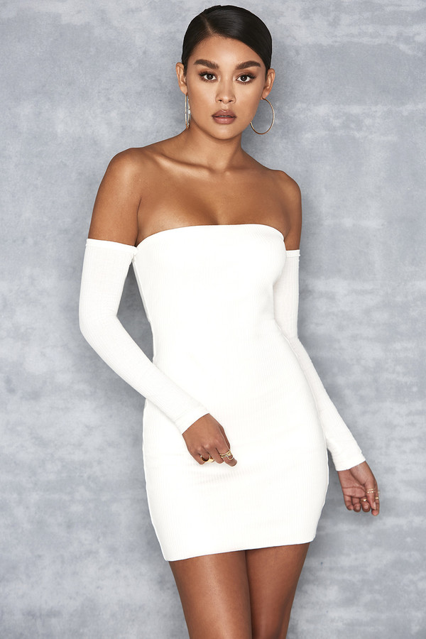 A Game Off White Ribbed Jersey Bardot Dress