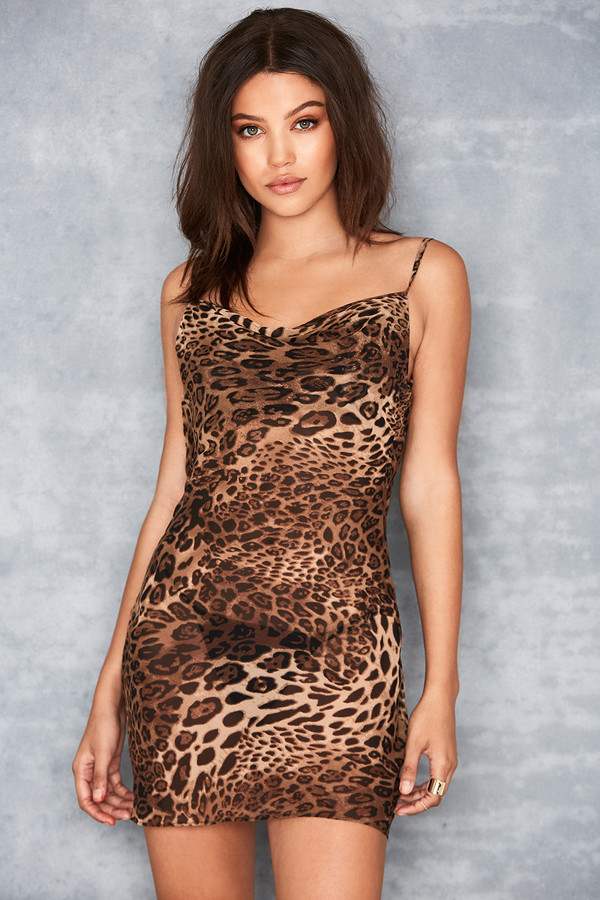 All Out Leopard Print Bias Cut Cowl Neck Dress