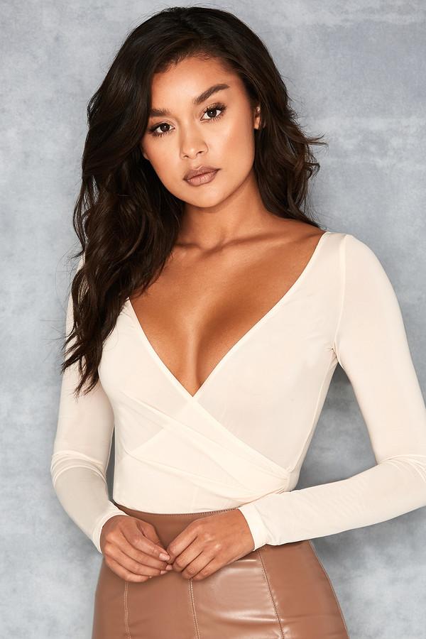 Angelic Cream Silky Jersey Crossover Bodysuit