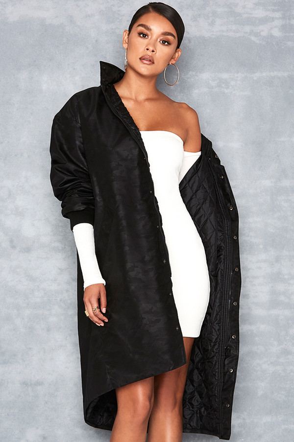 Arbitrary Black Taffeta Long Length Camo Jacket
