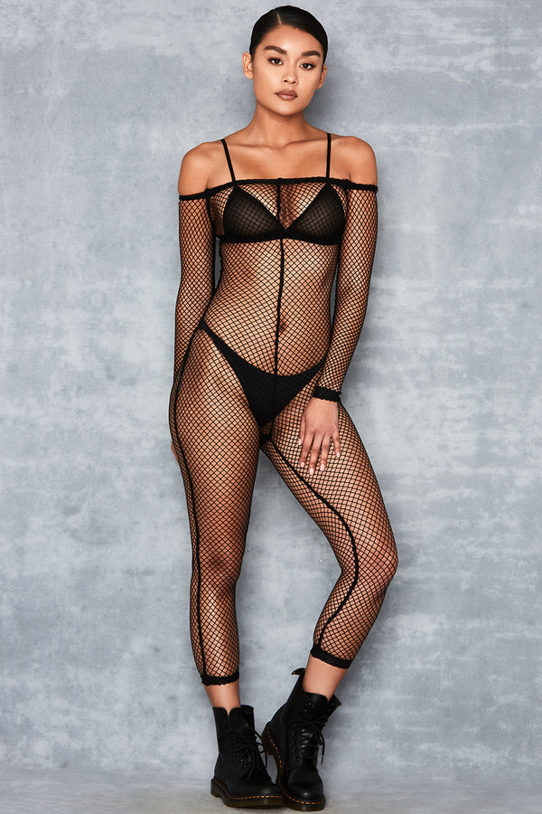 Bonita Black Sheer Fishnet Jumpsuit